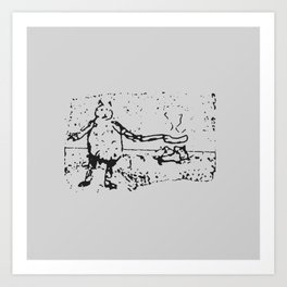 Jessie Frying up a Pan Full of Sausages on the Range - Monochrome Art Print