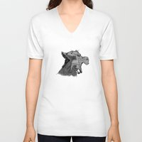 newspaper V-neck T-shirts featuring Newspaper Lions by Doolin