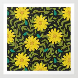 Sunflowers on Black Art Print