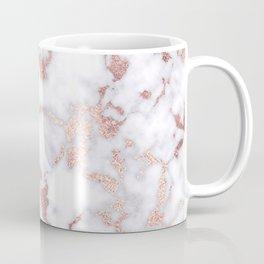Modern Chic Rose Gold White Marble Stone Pattern Coffee Mug
