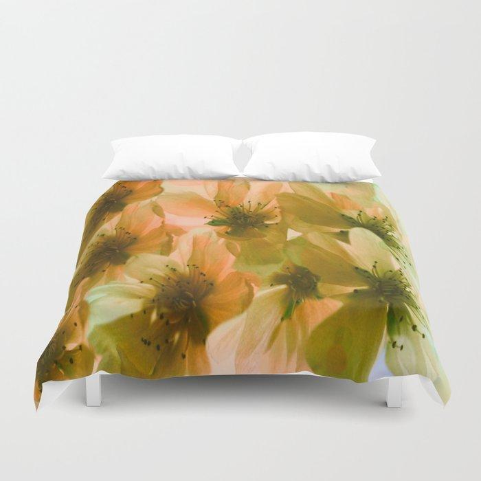 Orange Blossom Abstract Duvet Cover