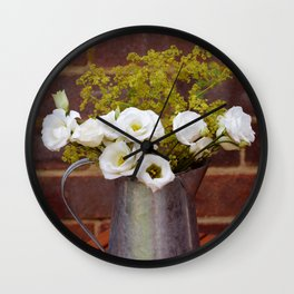 White gentians in rustic pitcher Wall Clock