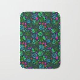 Watercolor Floral Garden in Electric Black Velvet Bath Mat