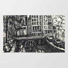 Amsterdam canal sketch Rug