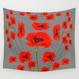 GREY MODERN RED-ORANGE POPPIES  PATTERN DESIGN Wall Tapestry