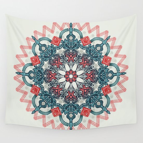 Teal Medallion Wall Decor : Coral teal tangle medallion wall tapestry by micklyn
