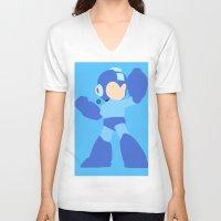 mega man V-neck T-shirts featuring Mega Man(Smash)Black by ejgomez