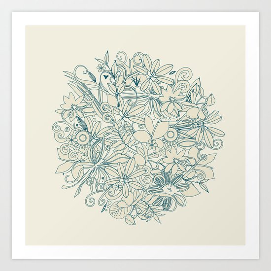 Denim flower circle Art Print