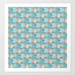 Floral Pattern   Living Coral and Aqua Blue Art Print