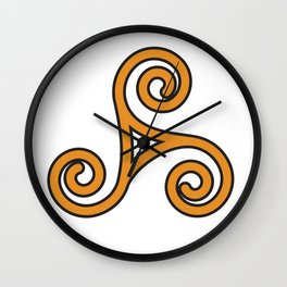 Orange Triskel Wall Clock