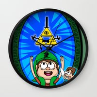 gravity falls Wall Clocks featuring Gravity Falls: Hyrule Falls by Macaluso