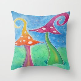 Whimsical Watercolour Mushrooms Throw Pillow