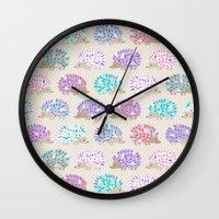 polkadot Wall Clocks featuring Hedgehog polkadot by Heleen van Buul
