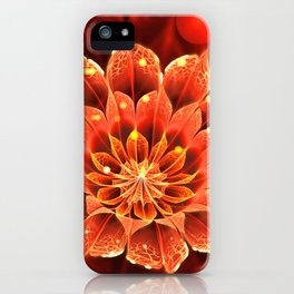 Red Dahlia Fractal Flower with Beautiful Bokeh (Vivid Crimson) iPhone Case
