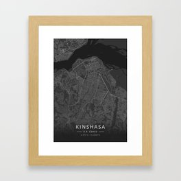 Kinshasa, D.R. Congo - Dark Map Framed Art Print