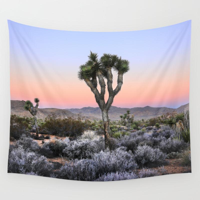 Joshua Tree Sunrise Ii Pink Desert Mojave Wall Tapestry By