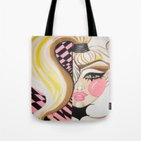 blondie Tote Bags featuring Blondie by Artist Fran Doll
