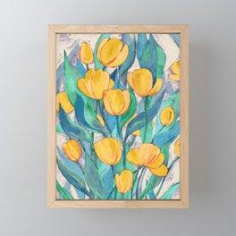 Blooming Golden Tulips in Gouache Framed Mini Art Print