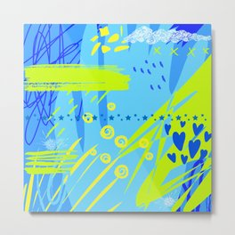 Abstract Art Mixed Media in Blue & Lemon Lime Metal Print