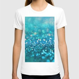 Teal turquoise blue shiny glitter print effect - Sparkle Luxury Backdrop T-shirt