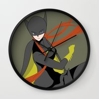 batgirl Wall Clocks featuring Batgirl by revolver74