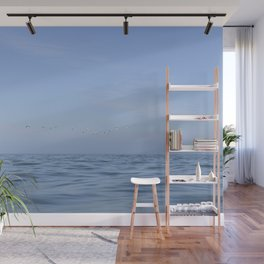Minimalist seascape - soft waves and flying gannets off the coast of Wales, UK - travel photography Wall Mural