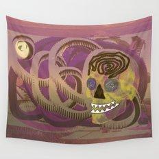 Skull in a Tubular Landscape Wall Tapestry