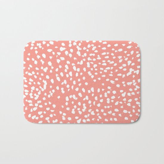 Coral and white minimal painted dots pattern dotty print decor for minimal home office dorm college Bath Mat