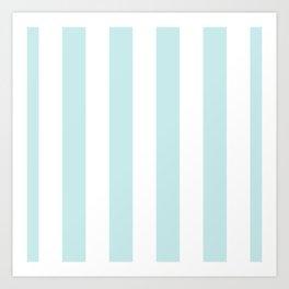 Duck Egg Pale Aqua Blue and White Wide Vertical Cabana Tent Stripe Art Print