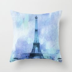 Blue Eifel Tower Paris France abstract painting Throw Pillow