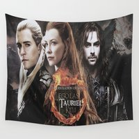 lord of the rings Wall Tapestries featuring kili,legolas,tauriel,the hobbit,lord of the rings by ira gora