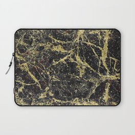 Marble - Glittery Gold Marble on Black Design Laptop Sleeve