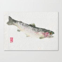 Rainbow Trout Dive - Gyotaku Canvas Print