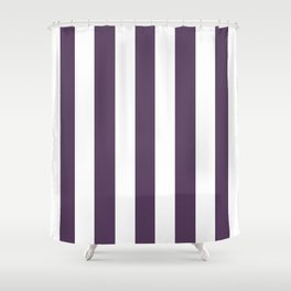 Old heliotrope violet - solid color - white vertical lines pattern Shower Curtain