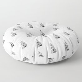 Newspaper Print Pine Trees Floor Pillow