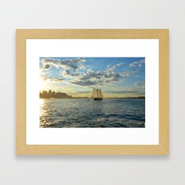 Boston Harbor Sailboat Boston MA Framed Art Print