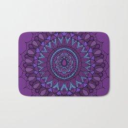 Bohemian Mandala in Plum with Turquoise Bath Mat
