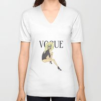 vogue V-neck T-shirts featuring VOGUE by LydiaSchüttengruber
