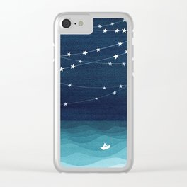 Garlands of stars, watercolor teal ocean Clear iPhone Case