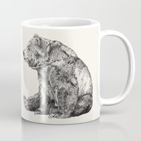 bear Mugs featuring Bear // Graphite by Sandra Dieckmann