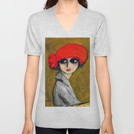The Corn Poppy, Portrait of a Young Woman by Kees van Dongen Unisex V-Neck