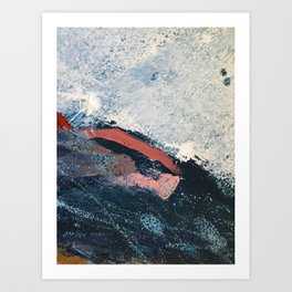 Sea to Sky: a minimal abstract piece in pinks, blue and white by Alyssa Hamilton Art Art Print