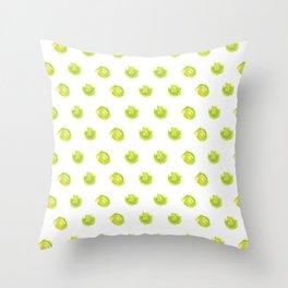 Lime Green Polka Dots Throw Pillow