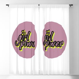 Girl Power, Flower, Girly sticker, Girly t shirt, Girly poster, purple version Blackout Curtain
