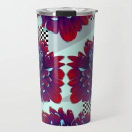 Purple Painted Flowers Travel Mug
