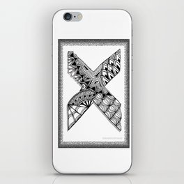 Zentangle X Monogram Alphabet Initial iPhone Skin
