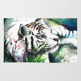 WHITE TIGER WATERCOLOR Rug
