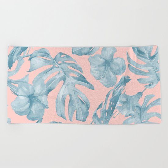 Island Life Pale Teal Blue on Millennial Pink Beach Towel