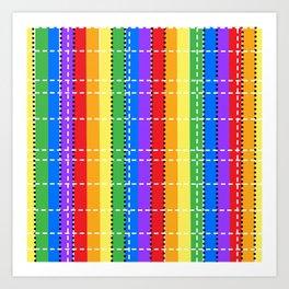 digital rainbow plaid Art Print