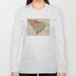 Vintage Geological Map of South Carolina (1883) Long Sleeve T-shirt